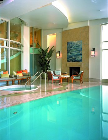 Infinity pool and fireplace in the Nob Hill Spa
