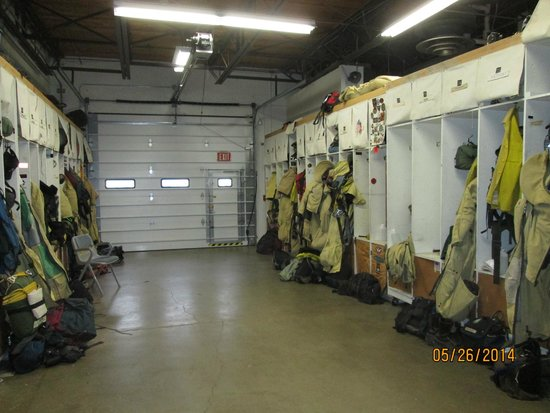 Aerial Fire Depot and Smokejumper Center: Smokejumper equipment room, ready for action!