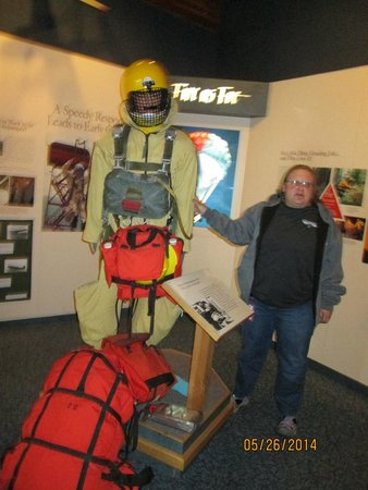 Aerial Fire Depot and Smokejumper Center: The mannequin shows the amount of gear the smokejumpers have with them.