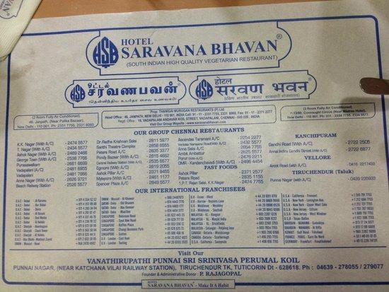 Saravana Bhavan: Menu