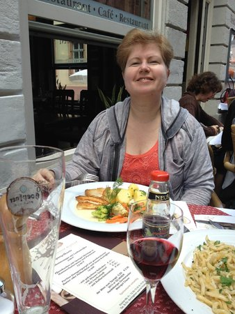 Cafe Knösel: My mom, satisfied with her fillet and potatoes