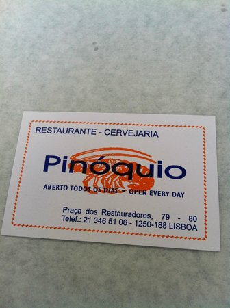 Restaurante Cervejaria Pinoquio: Adresse