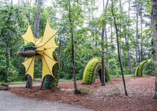 Garvan Woodland Gardens: Sea Serpent made of plants flowers