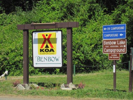 Benbow KOA: sign