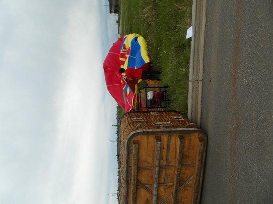 Sundance Balloons: The balloon is being set up for take-off