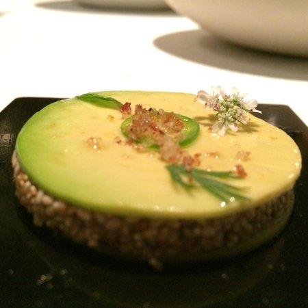 Pujol: Chia seed medallion layered with avocado