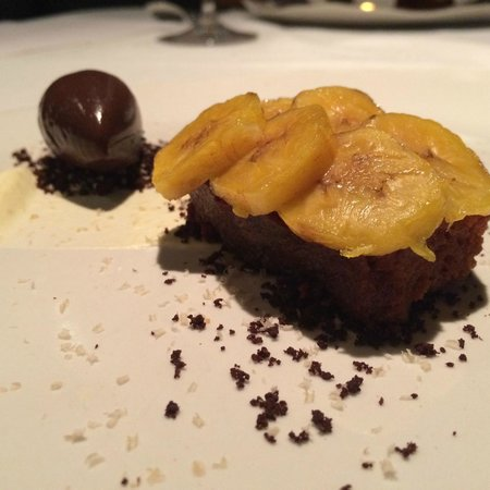 Pujol : Desert. Sour Caramel Biscuit with plantains. Cacao Gelato.