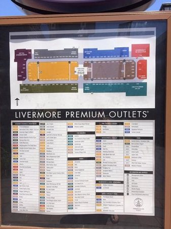 Outlet California Map.Directory Picture Of San Francisco Premium Outlets Livermore