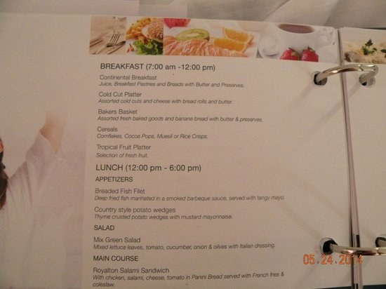Royalton White Sands Resort: Room Service Menu