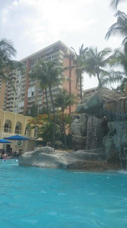 InterContinental San Juan: view of the back of the hotel from the pool