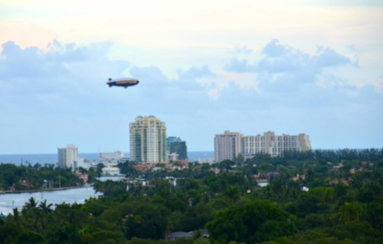 Riverside Hotel: A blimp fly over