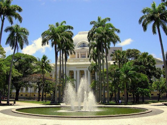 Conjunto Arquitetonico da Praca da Republica: The Palace of Justice, fountain and Palmtrees