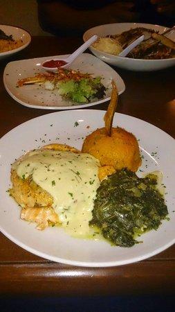 Rumba Island Bar & Grill: Salmon Ochos Rios w/ Jamaican Greens and Sweet Potatoes.. ����