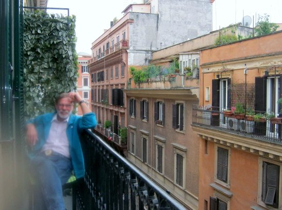 Hubs on our lovely balcony at Mok'house B&B! Romance in Roma!