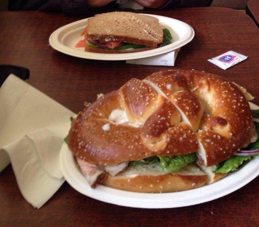 Carmel Bakery: Pretzel Sandwich in the Front & Salmon Sandwich in the back!