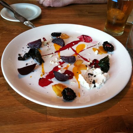 True : Beets, goat cheese, carrot puree