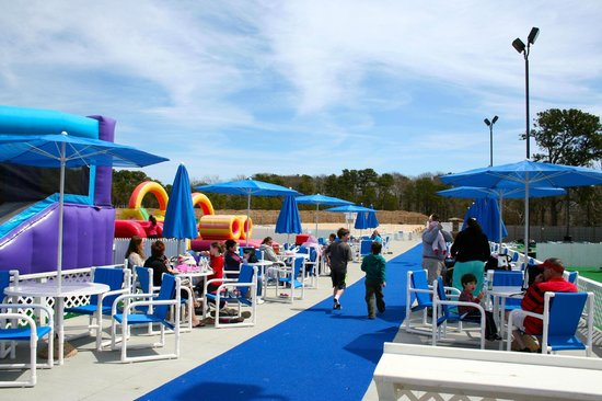 One of the family seating areas at the Cape Cod Inflatable Park