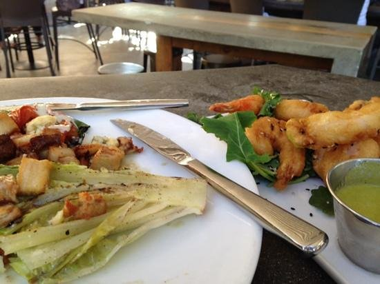 Public House: grilled romaine salad and tempura shrimp