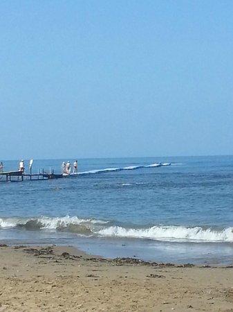 Larissa Beach Club: Плавающий пирс - при волнах весело :)