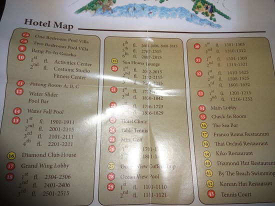Diamond Cliff Resort and Spa : Hotel Map Legend