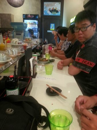 Sushi Train: On the tables.