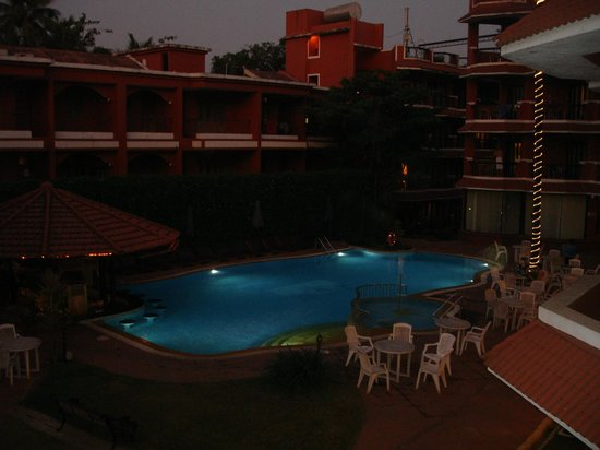 The Baga Marina: View of the swimming pool from our room