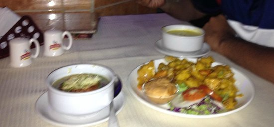 Le Club: veg soup and vegetables fried in batter