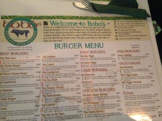 Bobos Burgers Restaurant: menu