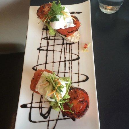 Three Little Ducks: Free range poached eggs, tomato & smashed avocado