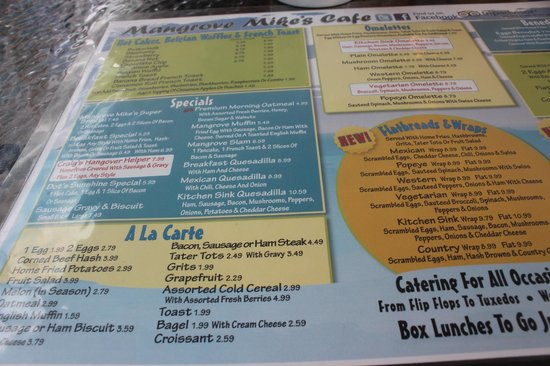 Mangrove Mike's Cafe : La carte 2