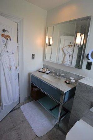 Waldorf Astoria Edinburgh - The Caledonian: Robes and sink in standard room at The Caledonian, Edinburgh, Scotland.