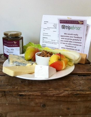 Selection of British cheeses @ Beechwood with Walnuts Apple & Celery