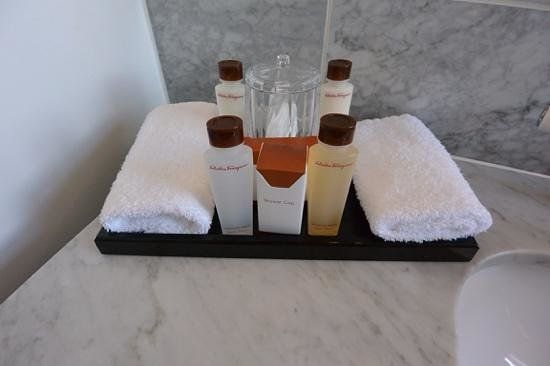Waldorf Astoria Edinburgh - The Caledonian: Toiletries in standard room at The Caledonian, Edinburgh, Scotland.