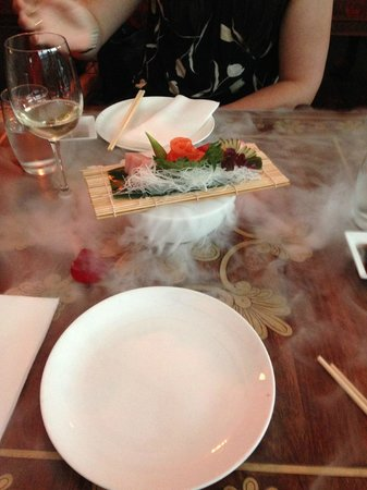 Gilgamesh Restaurant Lounge Bar: This is the Sushi dish over a bowl of dry ice.