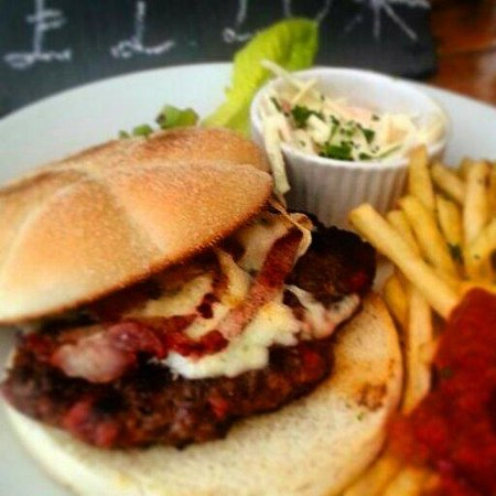 The Secret Garden Cafe: 100% handpressed beef burger with cheese and bacon! Yum