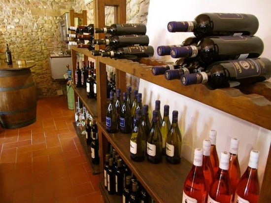 Tuscany Bike Tours: Estate wine for purchase after the castle tour