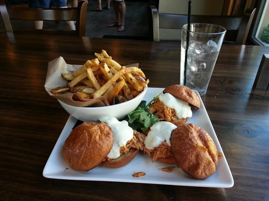 Old Forge Cafe and Creperie : Buffalo Chicken Sliders with Truffle Fries