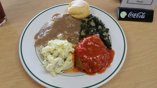 Lea's Lunchroom: Stuffed Bell Pepper with rice & gravy, turnip greens & potato salad