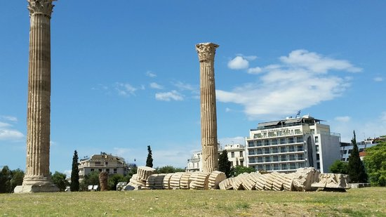 The Athens Gate Hotel: A look at the hotel from the temple of Zeus