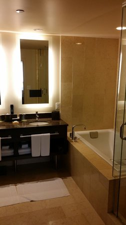 Hyatt At Olive 8: Master bathroom. TV in the mirror.  Loved the shower.