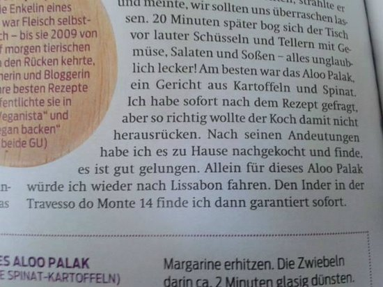 Haweli Tandoori: Haweli in german newspaper