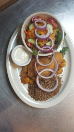 Sweet Spice: Only the best !!! Fried Tilapia, Curried Shrimp, Bulger, A salad with Caesar dressing. Sweet Spi