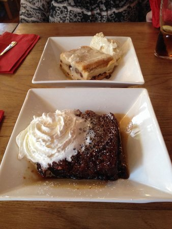The Grapes: Homemade bread and butter pudding (top) and sticky toffee pudding. Both delicious
