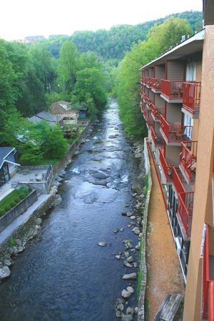 Baymont Inn & Suites Gatlinburg On The River: This was our view looking north from our fourth-floor balcony,