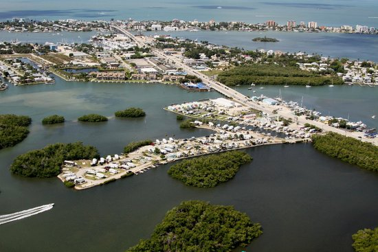 San Carlos R.V. Park & Islands: Aerial view showing our campground and Fort Myers Beach at the top