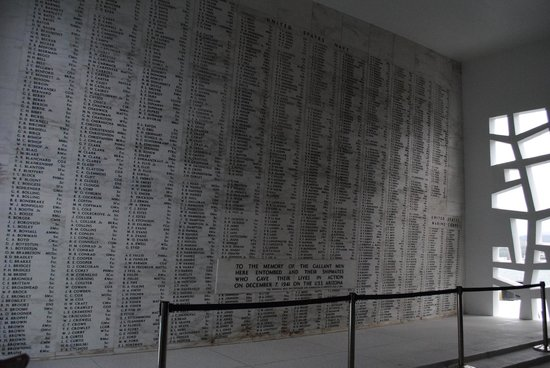 USS Arizona Memorial/World War II Valor in the Pacific National Monument: USS Arizona Memorial- Names of those lost on the USS Arizona