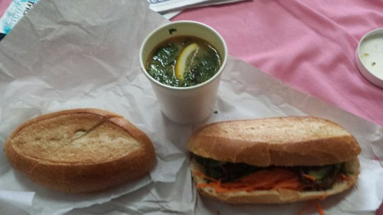 Ba & Me : Rainy day special chicken curry and baguette. Also pork baguette sandwich to right