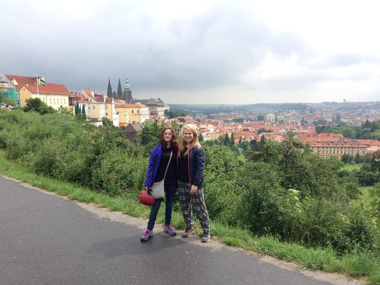Prague On Segway, on E-Scooter, on Quad : My daughter and Ellie looking out over Prague