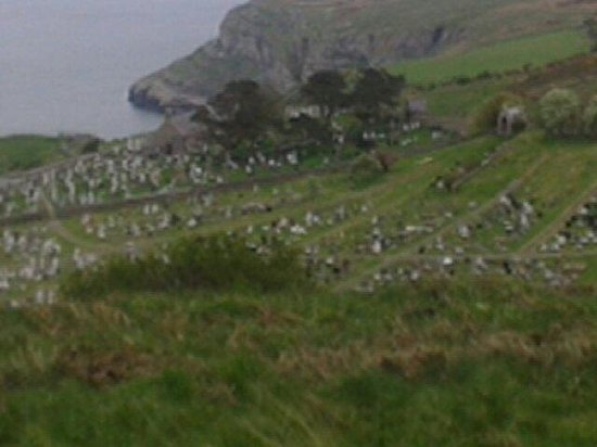 Great Orme: St tudnos church and grave yard from 'the monk's path'
