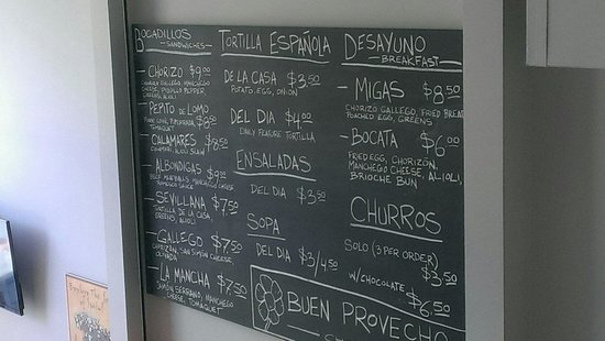 Chorizo & Co. : Menu as of 6.11.14
